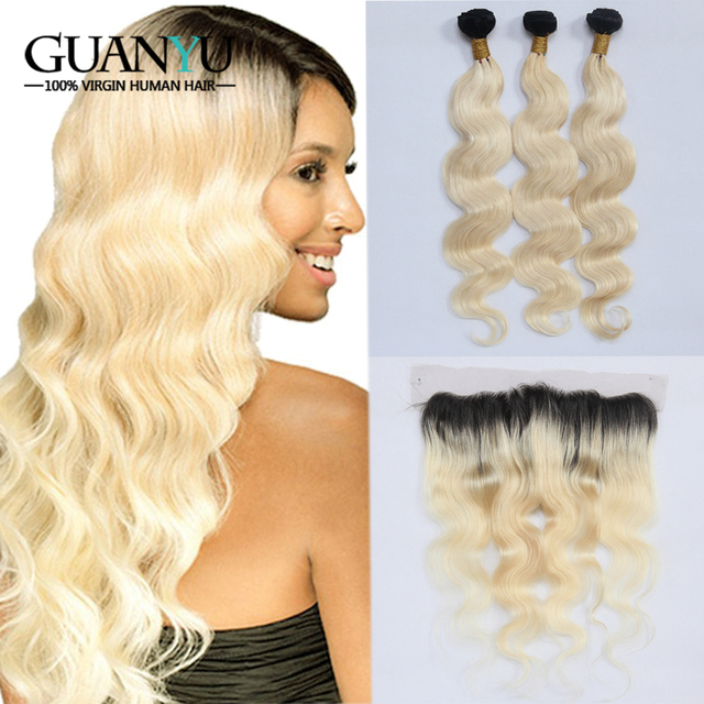 Guanyuhair #1B/613 Ombre Blonde Bundles With 13x4 Lace Frontal Closure Ear to Ear Peruvian Body Wave Remy Human Hair Weave