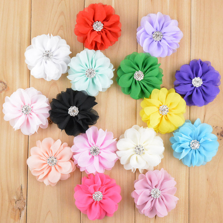 2.8'' Chiffon Fabric Flower Rhinestone Center DIY Artificial Flowers for Headband Hat Garment 50pcs/lot Free Shipping FH31