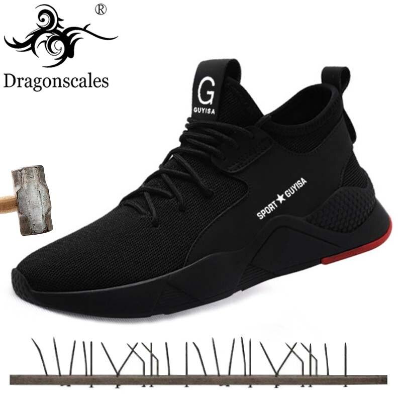 Chaussures de sécurité de travail respirant d'été pour hommes pour hommes en plein air chaussures à bout en acier cheville bottes de sécurité indestructibles baskets élégantes