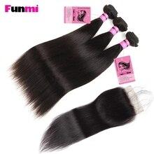 Funmi Необработанные индийские прямые пучки волос с закрытием 3 пучка с закрытием прямые натуральные человеческие пучки волос для салона волос