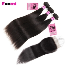 Funmi Raw Indian Straight Hair Bundles med Lukke 3 Bundler med Lukkende Straight Virgin Human Hair Bundle til Frisør