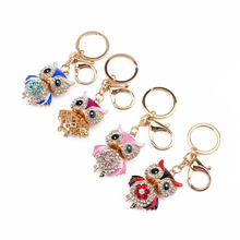 Owl Keychain Rhinestone Crystal Key Ring Chain Bag Charm Pendant Gift Alloy Toy Key Chain