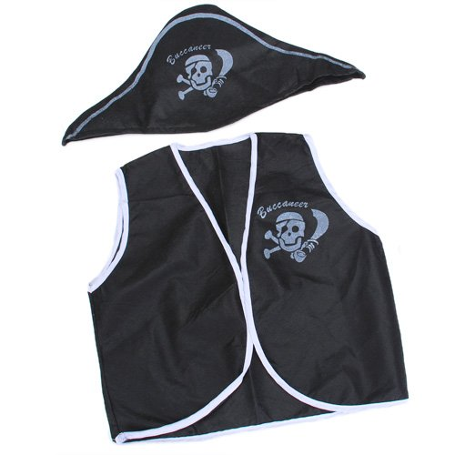 7 Pcs Children  Halloween costumes skull eye vest hat blinder hook boys girls costume set