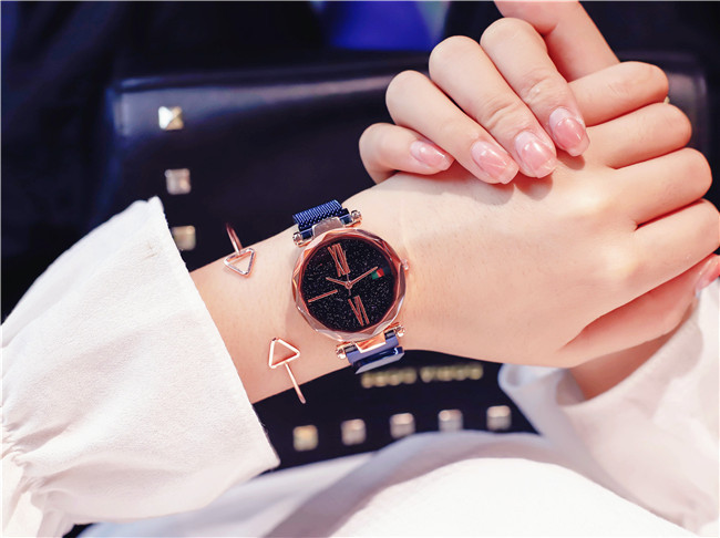 Luxury Rose Gold Women Watches Minimalism Starry sky Magnet Buckle Fashion Casual Female Wristwatch Waterproof Roman Numeral 16