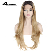 Anogol Black Ombre Blonde High Temperature Fiber 360 Frontal Long Natural Wave Wig Synthetic Lace Front Wig Peruca For Women