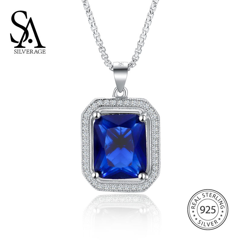 SA SILVERAGE Luxury Multicolor Gemstone Pendant Necklace 925 Sterling Silver Jewelry For Women Blue/white/ Green/ Red Color