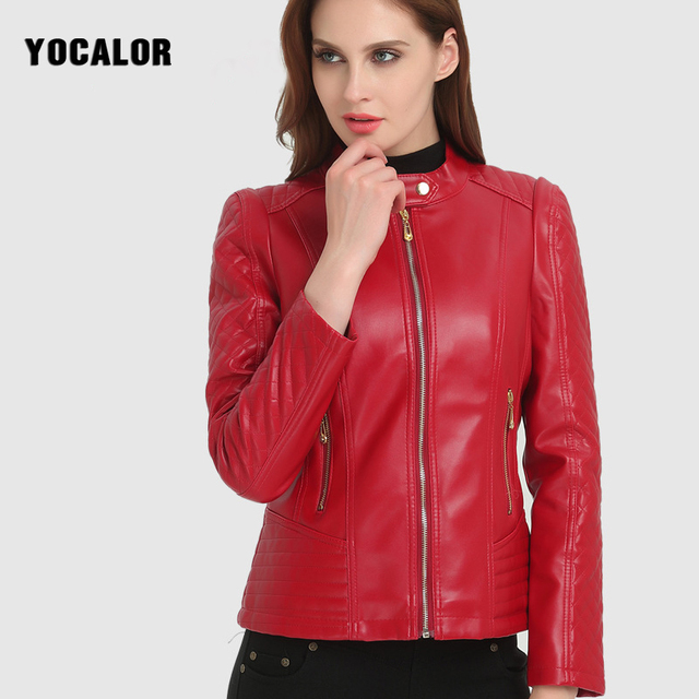 2017 Pu Motocicleta Roja Mujer Para Cuero Cremallera Chaqueta Moda rxSFtr