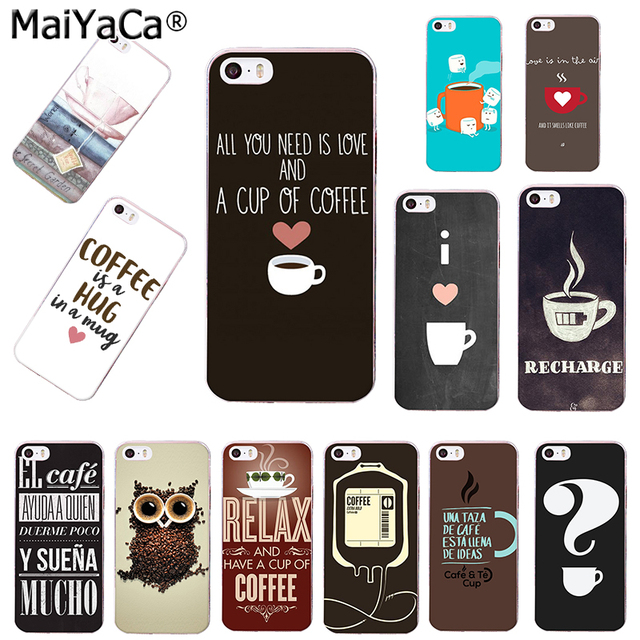 0b1494779e MaiYaCa Chalkboard Coffee Love with Heart I Love Coffee Transparent TPU Phone  case Cover For iPhone 4s 5s 6s 6plus 7 7plus case