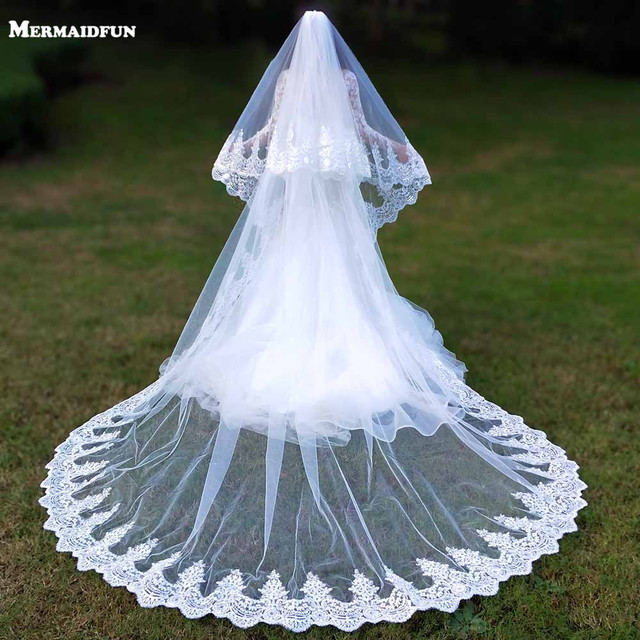 Real Photos 2 Layers Sequins Lace 3 Meters Cathedral Woodland Wedding Veils with Comb 3M Long White Ivory 2 T Bridal Veils 1