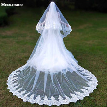 실제 사진 2 레이어 스팽글 레이스 3 미터 대성당 우드랜드 웨딩 베일 빗 3 m 긴 흰색 아이보리 2 t 신부 베일