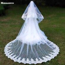 صور حقيقية 2 طبقات الترتر الدانتيل 3 متر كاتدرائية الغابات الحجاب الزفاف مع مشط 3m طويلة الأبيض العاجي 2 T حجاب الزفاف
