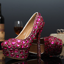 Luxus Runde Kappe Strass Plattform Hochhackigen Schuhe Fuchsia und Grün Hochzeit Schuhe Kristall Lady Schuhe Partei Schuhe