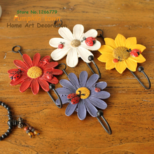 2018 NEW Garden-style color chrysanthemum hook,creative wall decoration resin+iron hook,clothing store/home coat hat key hook