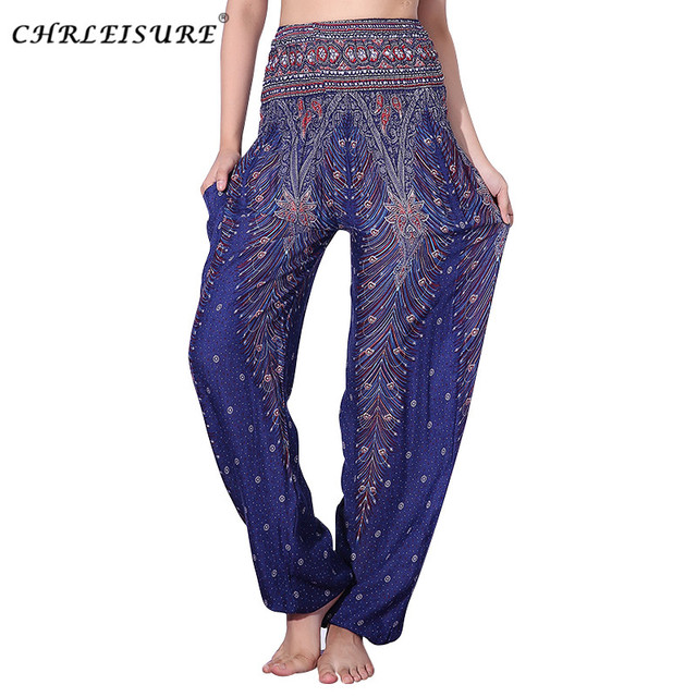 c29f435ef4d30 CHRLEISURE Women Summer Beach Harem Pants Bohemian Plus Size Pants High  Waist Printed Trousers Women Plus Size Pant