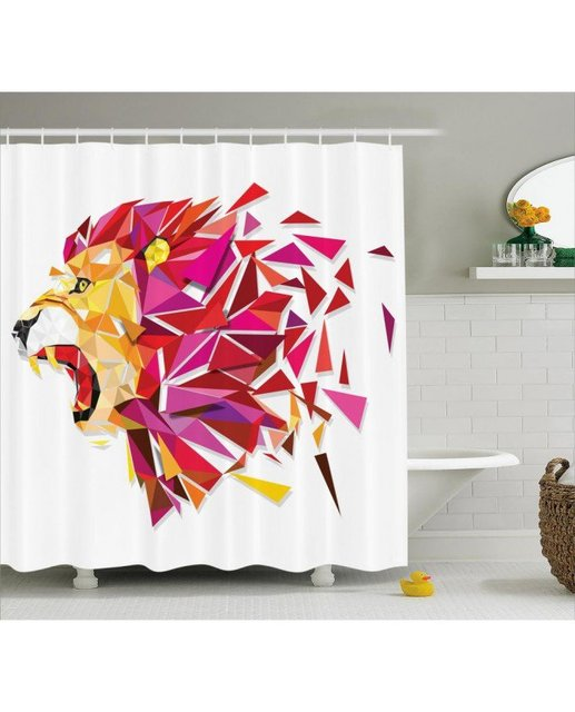Geometric Shower Curtain Lion King Figure Print For BathroomFabric Washable Waterproof With Rings