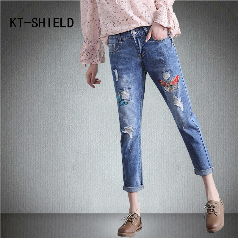 Boyfriend ripped jeans woman with embroidered Casual denim stretch pencil pants mid waist summer cotton calca jeans feminina jeans woman summer ripped boyfriend jeans for women red lips denim mid waist distressed pencil pants femme casual long pants z15