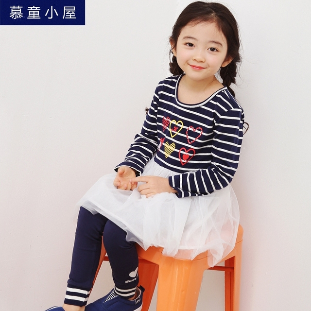 9a1fb8289 Girls spring autumn cotton dresss Mesh stripe dress for Kids 2 3 4 5 6 7 8 10  year old Young Girls school clothes Brand vestido
