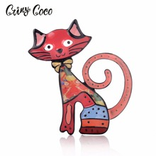 Cring CoCo Colorful Enamel Cat Brooch Pins Men Womens Alloy Animal Brooches For Suits Dress Banquet Gift