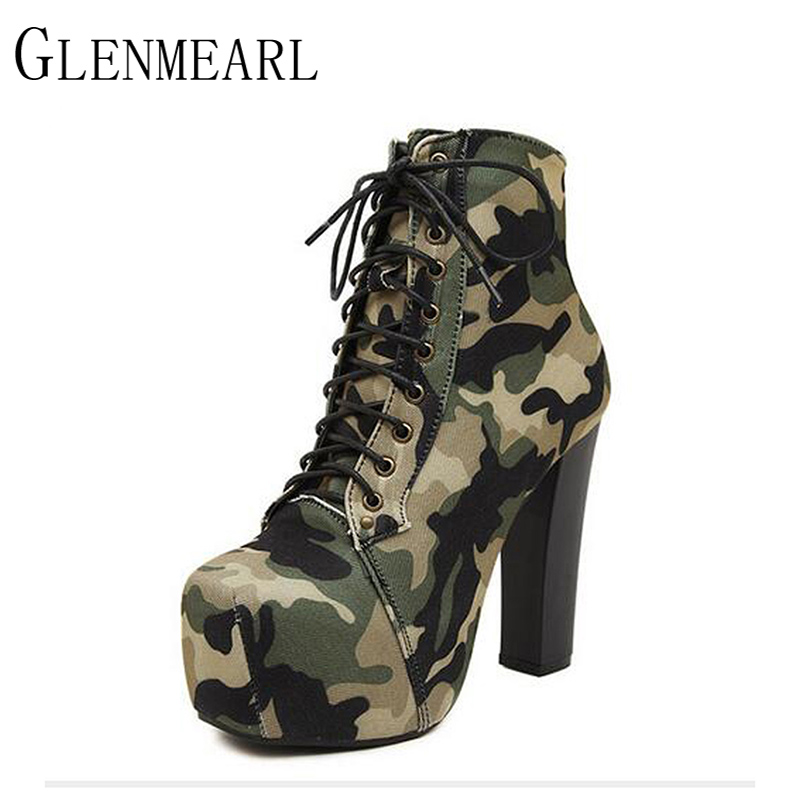 2017 New Ankle Women Boots Shoes Winter Camouflage Lace Up Platform Thick With Short Shoes Boots High Heel Pumps Plus Size GB35 new high heel thick heel ankle boots for women platform lace up women boots casual shoes woman