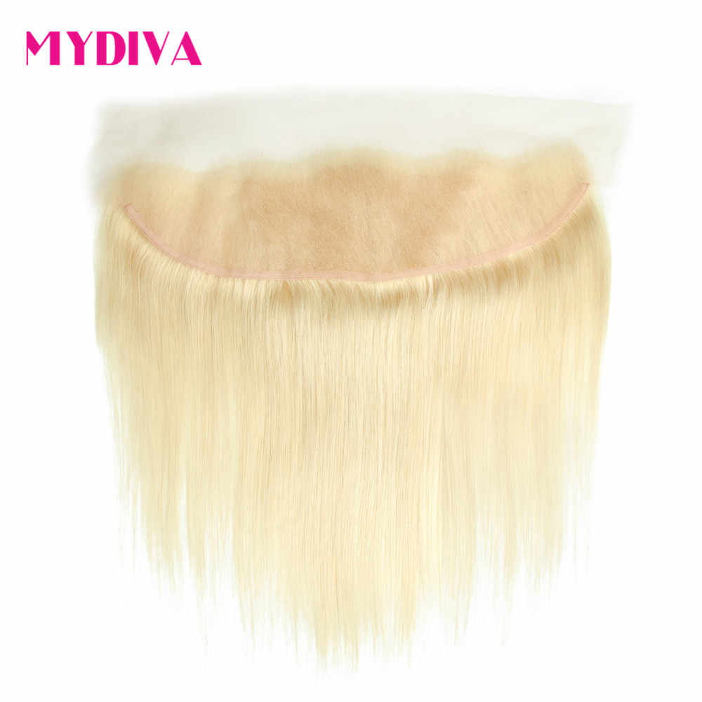 Brazilian Straight Hair Blonde Frontal 13*4 613 Lace Frontal Closure Ear To Ear Frontal Remy Human Hair Transparent Lace Frontal