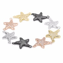 LOULEUR 2PCs/lot Starfish Copper Connectors Micro Pave Cubic Zircon Charms Pendant Jewelry Findings Components