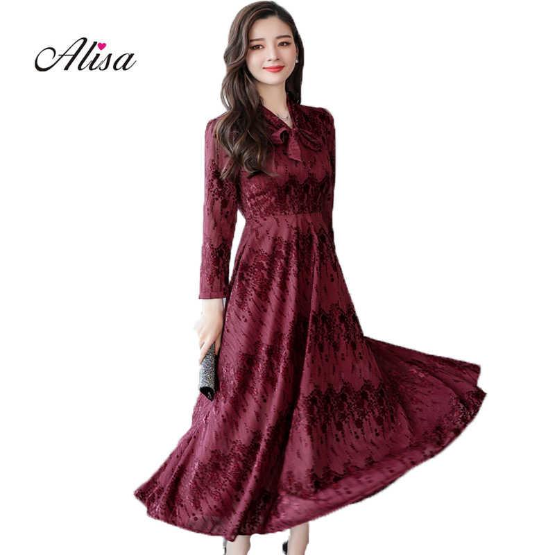 95b27869a6c Для женщин модные элегантные Платья для вечеринок 2018 Новая осень с  длинным рукавом Тонкий трапециевидной формы