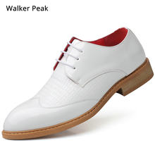Size 38-48 Mens Business Dress Shoes brand Leather Fashion Pointed White Formal Shoe men Oxford Office Wedding Shoes Walker Peak(China)