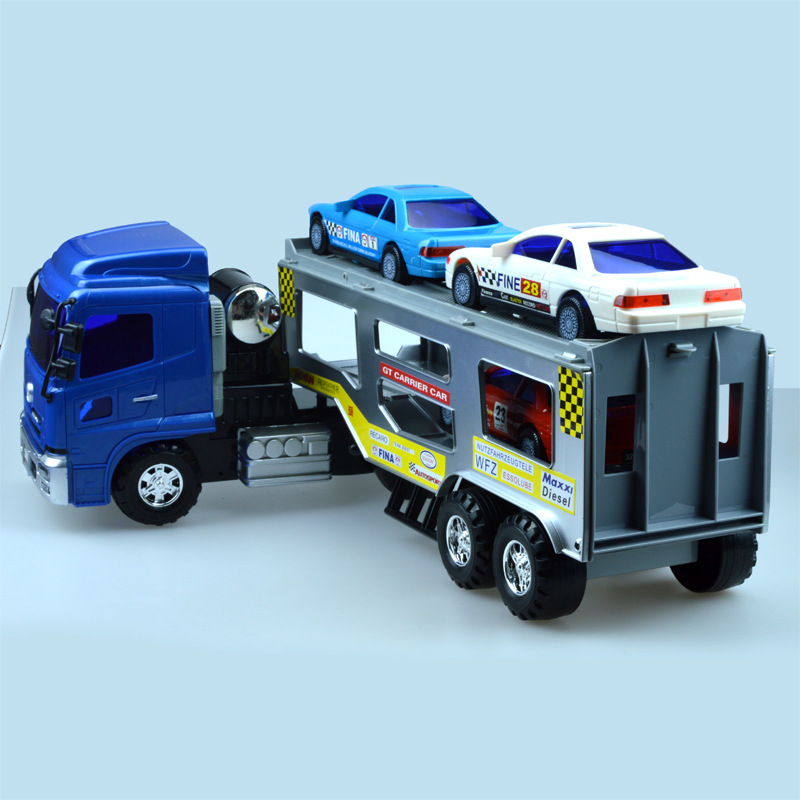 Simulation Large sedan trailer+three cars Model Car Alloy Plastic Transport Mine Inertial engineering vehicles Toys For Children children large plastic 3d butterfly dragonfly beetle insect model interesting science activity toys