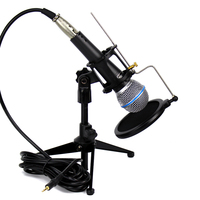 Professional Vocal Wired Dynamic Microphone 3.5mm Plug & Desktop Mic Stand Mount Pop Filter For BETA 58A Computer Karaoke System
