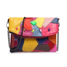 KANDRA Patchwork Design Women Skull Genuine Shoulder Bag Chain Strap Multicolor Flora Small Crossbody Lady Phone Purse 2019