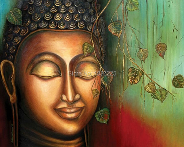 Aliexpress buy hand painted buddha face oil painting on hand painted buddha face oil painting on canvas handmade 3d buddha painting for home wall decoration sciox Image collections