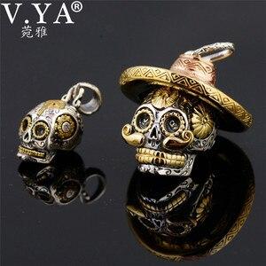 Image 2 - V.YA Punk 925 Sterling Silver Skeleton Skull Pendants Fit Necklaces for Men Women Thai Silver Pendant High Quality