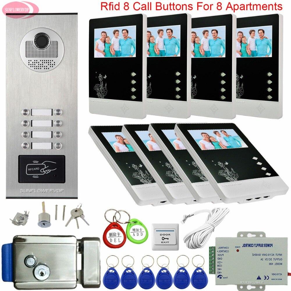 Video Intercom 8 Apartments Intercom On 8 Buttons Access Control Video Door Phone Intercom System 4.3inch Video Intercom Monitor