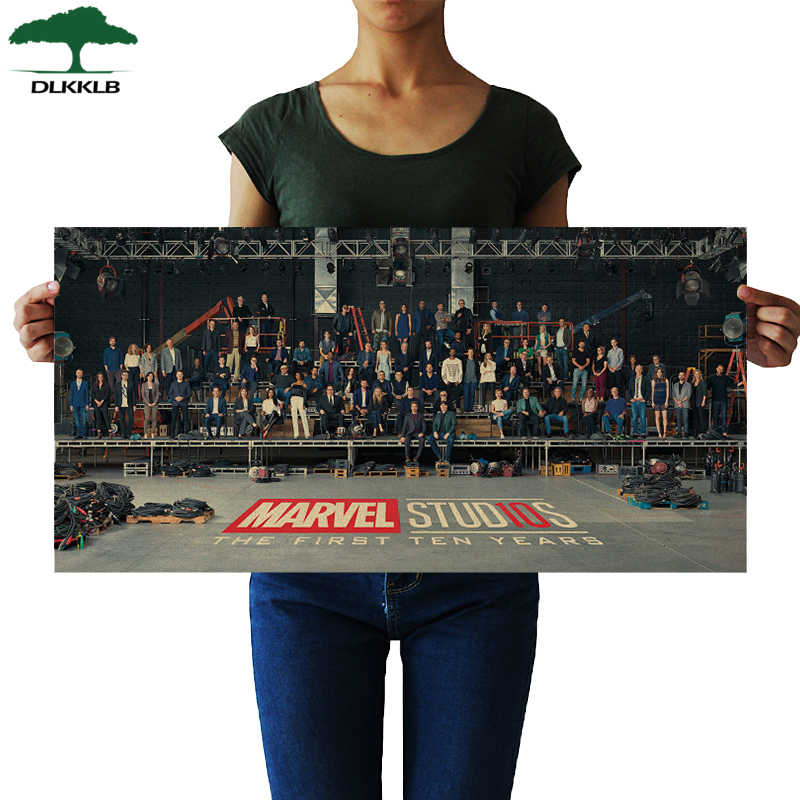 DLKKLB Marvel Avengers Poster Vintage10 Anniversary Protagonist Film Movie living Room Bedroom Decorative Painting Wall Stickers