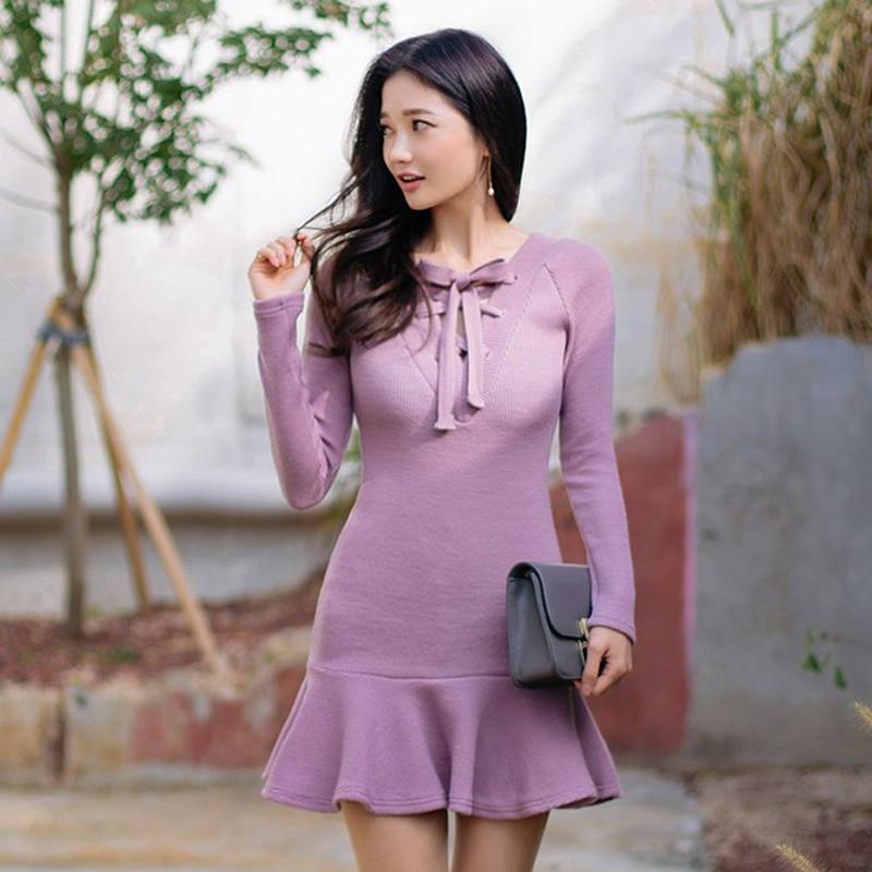 High Quality New Autumn and Winter Korean Sweet font b Fashion b font Lotus Leaf Ol