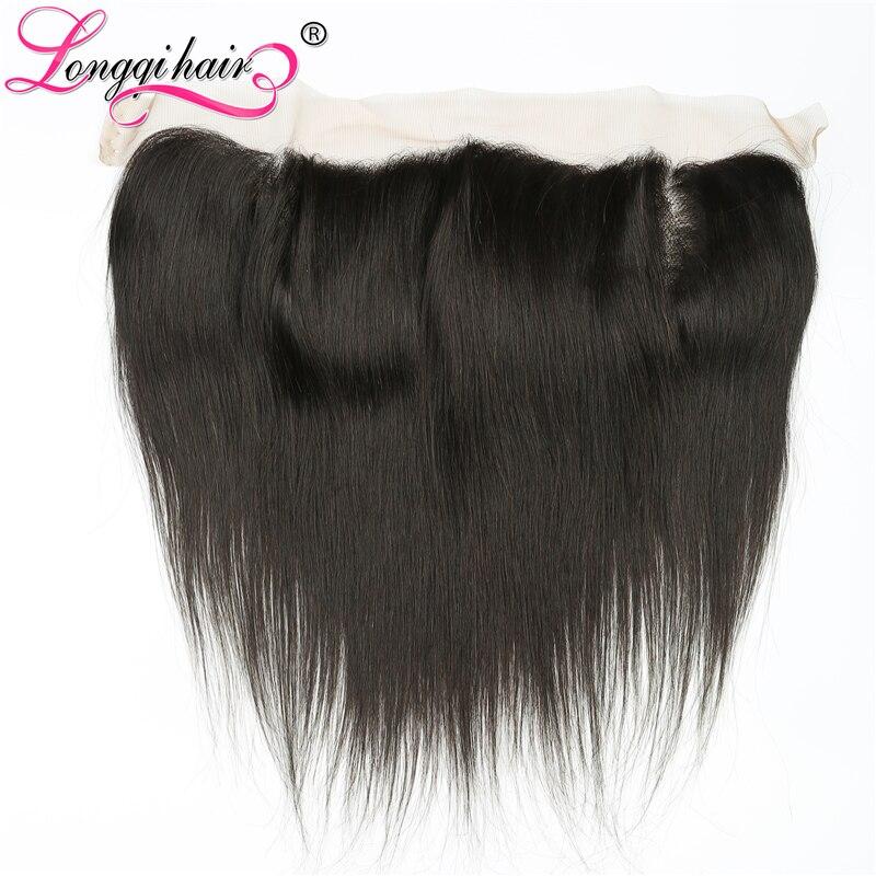 Longqi Hair 13x4 Ear to Ear Brazilian Straight Lace Frontal Closure Free Part 120 Density Remy