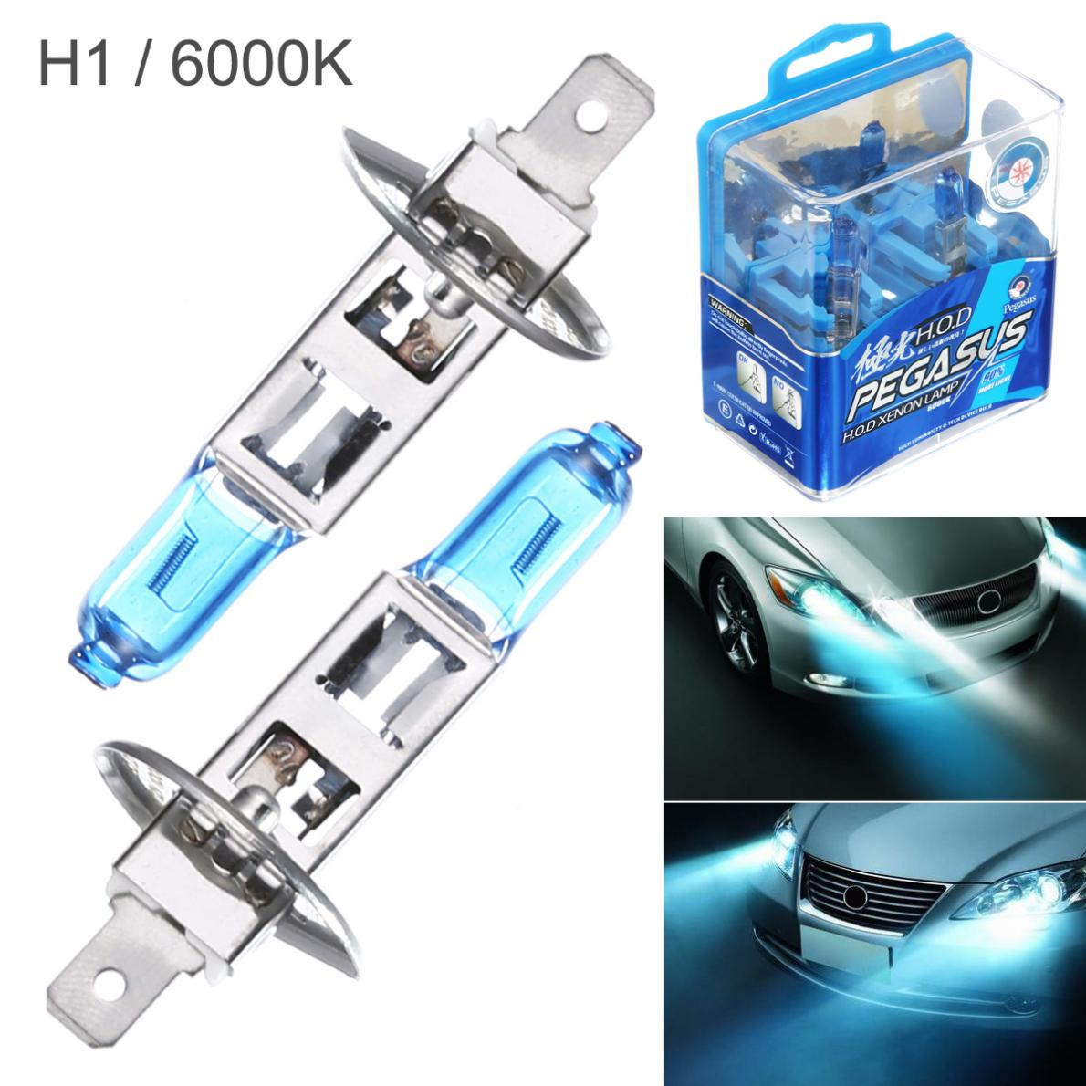 цена на 2pcs H1 H3 H4 9005 100W White Light Super Bright Car HOD Xenon Halogen Lamp Auto Front Headlight Fog Bulb