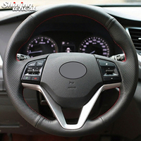 BANNIS Black Genuine Leather Car Steering Wheel Cover for Hyundai Tucson 2015 2016