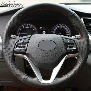 Shining wheat Black Genuine Leather Car Steering Wheel Cover for Hyundai Tucson 2015 2016