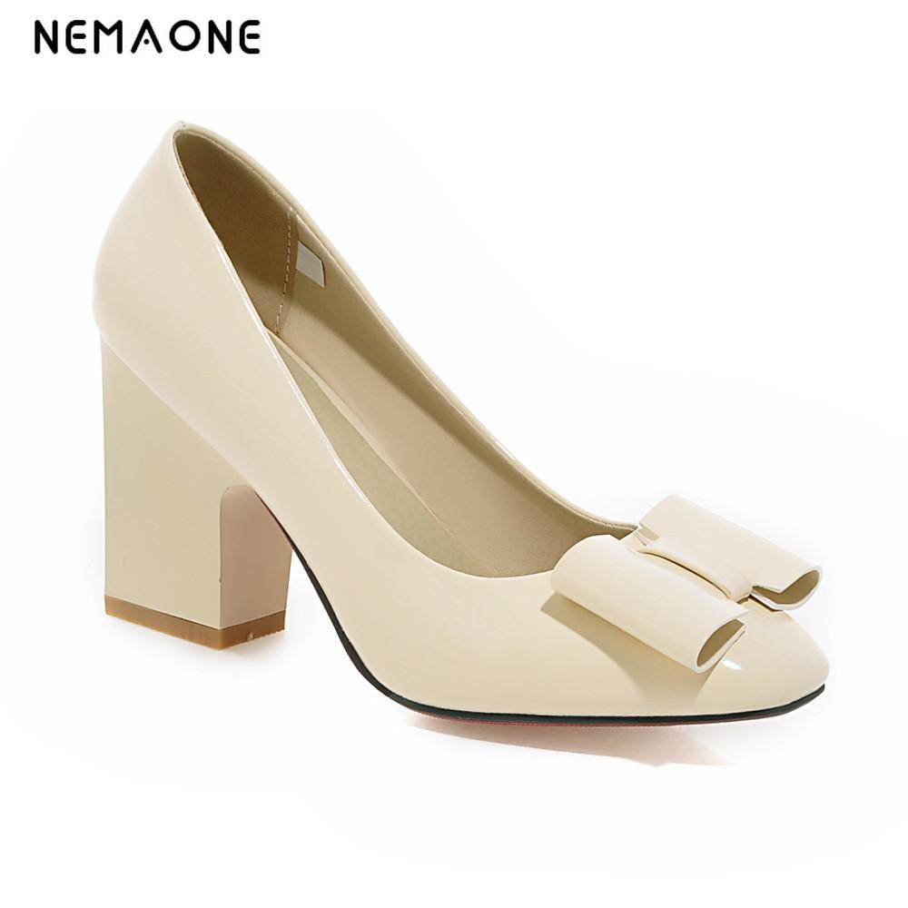 2017 New sweet women pumps square toe thick high heels women shoes office lady dress shoes zapatos mujer large size 34-43 nemaone 2017 new elegant women pumps poined toe low heels women shoes office lady dress shoes zapatos mujer large size 34 43