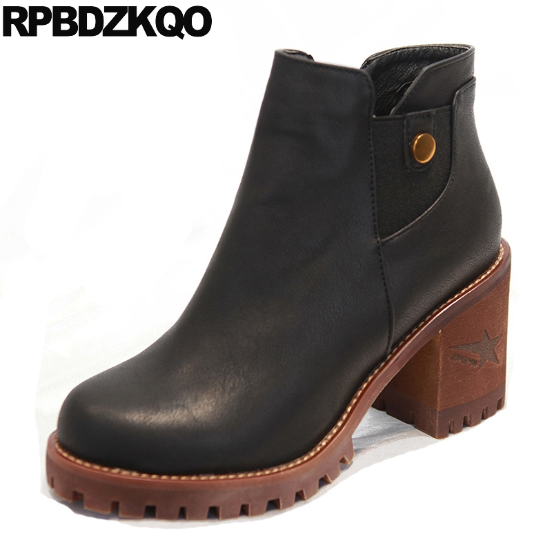 Waterproof Vintage Women Thick Fall Booties Slip On Shoes Ankle Boots 2016 Round Toe Black High Heel Platform Metal Chunky women ankle boots medium heel genuine leather booties vintage thick suede round toe chunky shoes slip on platform brown fall