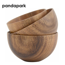 Pandapark Natural Potable Locust Wood Bowl For Children Lichtgewicht handgemaakte houten saladekommen PPM011
