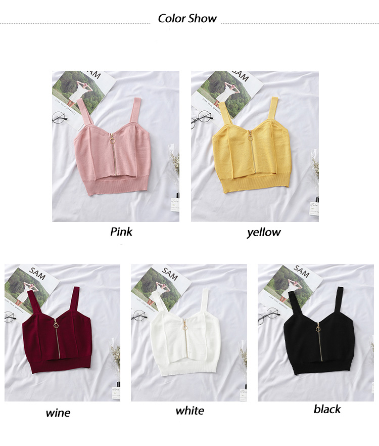 HTB1qo2taKH2gK0jSZJnq6yT1FXaJ - HELIAR Tops Women Crop Top Club Sexy Zipper Knitting Camisole With Hole Female Tank Tops Ladies Sleeveless Solid Strap Top Women