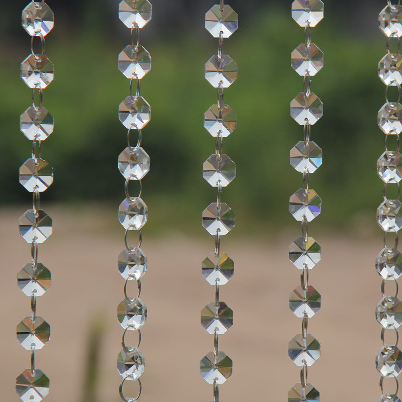Free shipping 60m lot clear DIY Top quality 14MM Octagon Glass Garland Strands Crystal beads Curtain