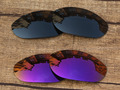 Black &  Purple 2 Pairs Mirror Polarized Replacement Lenses For Monster Dog Sunglasses Frame 100% UVA & UVB Protection