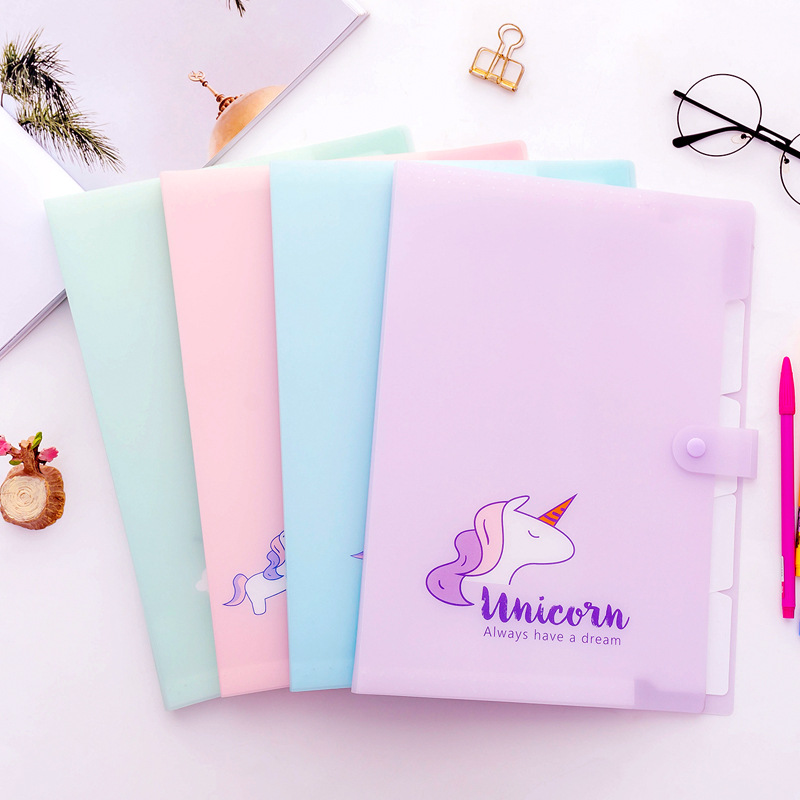 Korean Kawaii Unicorn A4 Document Bag For Girl File Folder Expanding Wallet Bill Folders Cute Creative Stationery School Supply