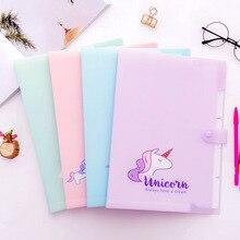 Korean Kawaii Unicorn A4 Document Bag for Girl File Folder Expanding Wallet Bill Folders Cute Creative Stationery School Supply