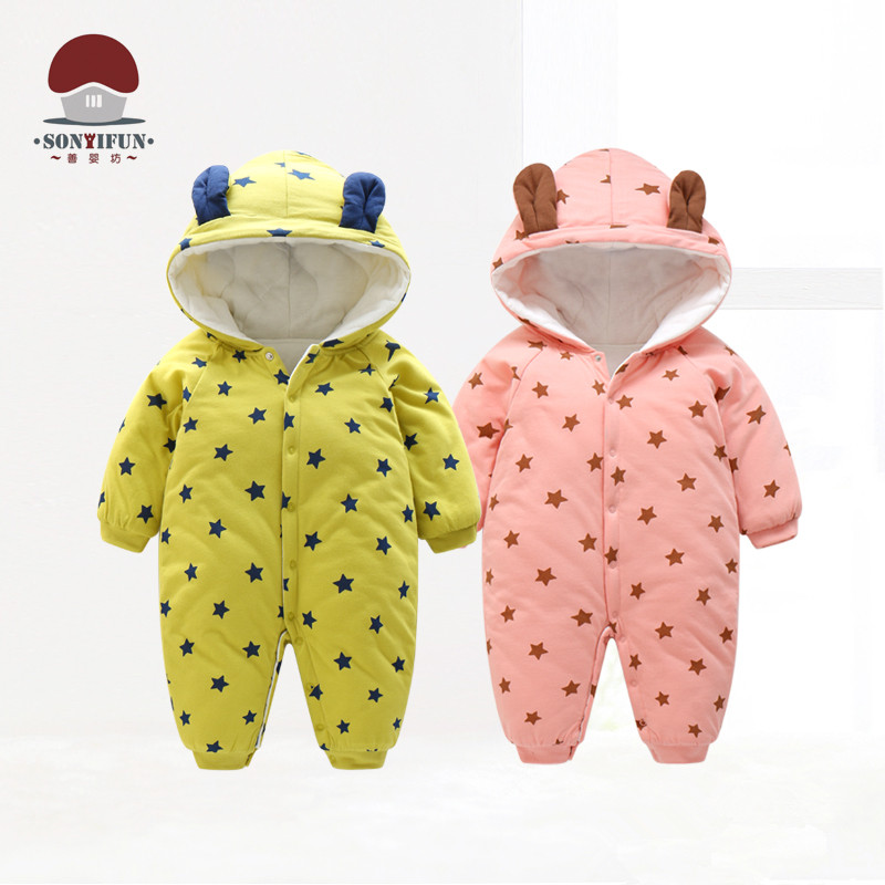 Shanyingfang Baby Girls Boys Hooded Winter Rompers Infant Long Sleeve Jumpsuits Toddler Cartoon Clothes Newborn Kids Clothing блюда elan gallery тарелка для фаршированных яиц сакура