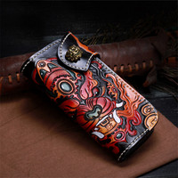 100% Handcraft Genuine Leather Handmade Carved Long Style Men's Coin Case Card Holder Engraved Designer Bifold Wallet For Man