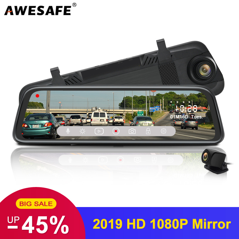 AWESAFE 10 IPS Touch Screen 1080P Car DVR Dual Lens DashCam Parking monitor Rear view Mirror